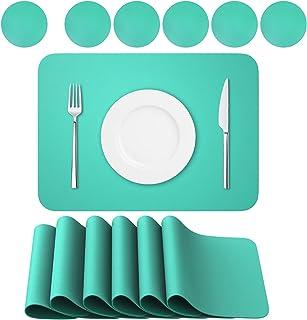 BANNIO Lot de 12 Sets de Table,6 Pièces Sets de Tables Lavables et 6 Pièces Dessous de Verre,PVC Set de Table(41 x 31CM),A...