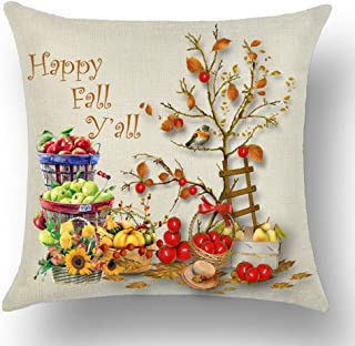 WePurchase Happy Autumn Fall Y'all Basket Green Red Apple Pumpkin Pear Tomato Sunflower Bird Ladder Cotton Linen Decorative Home Sofa Living Room Throw Pillow Case Cushion Cover Square 18x18 Inches