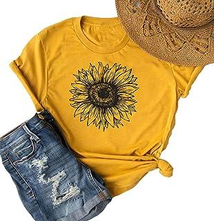 Sunflower Cute T Shirt Women Summer Boho Tees Tops Sunflower Graphic Vacation Tshirt Short Sleeve Casual Boho Shirt