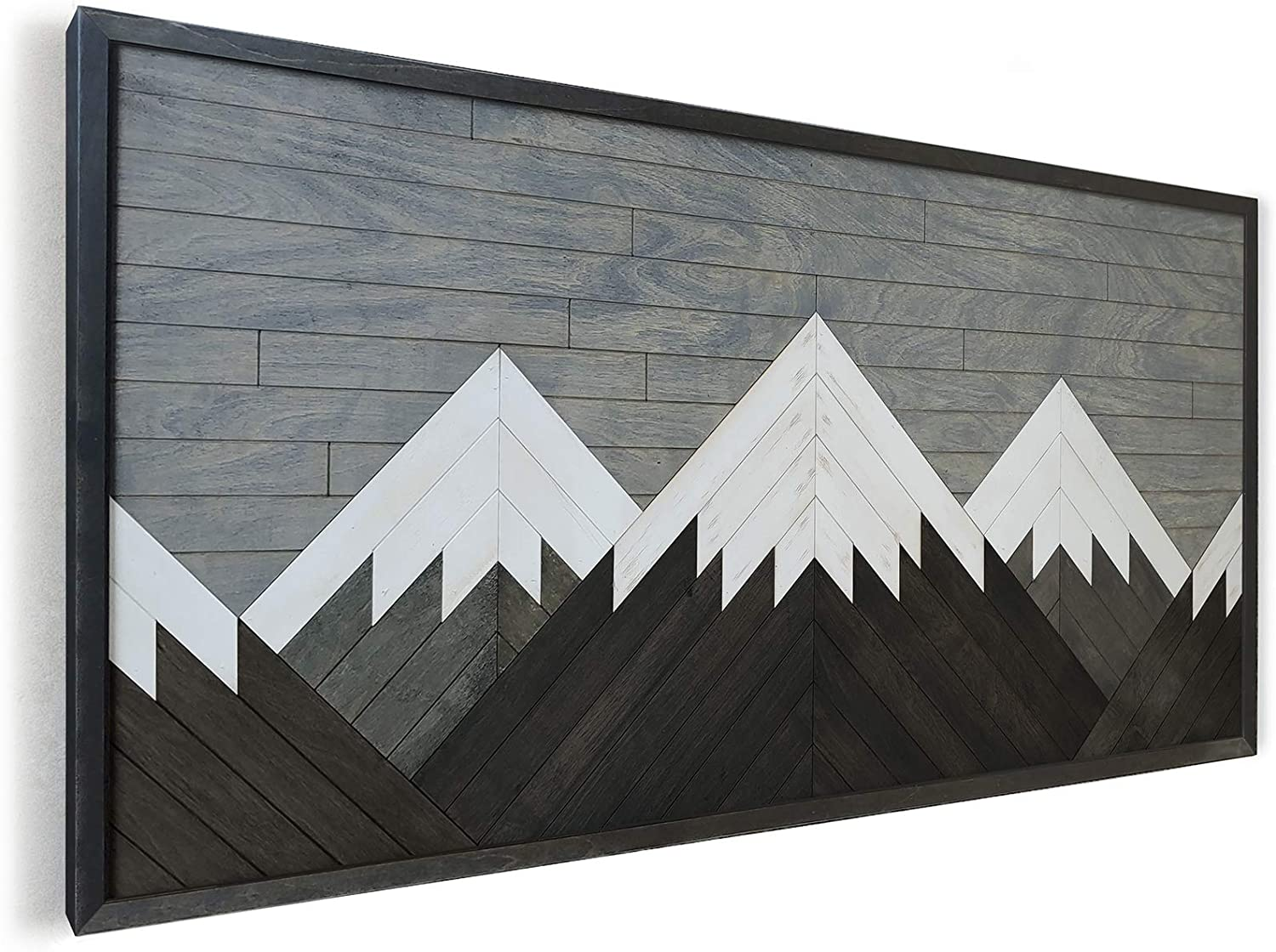 Other Furniture Mountain Wall Art for Living Room- Reclaimed Wood Panel Wall Art whitea Peak