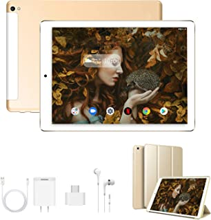 Tablet 10 Pulgadas 4G Full HD 3GB de RAM 32GB/128GB de ROM Android 9.0 Certificado por Google GMS Quad Core Tablet Batería de 8500mAh Dual SIM 8MP Cámara Tablet PC Netfilx WiFi Bluetooth GPS OTG(Oro)