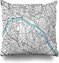 Ahawoso Throw Pillow Cover Vintage Black White City Map Paris Artistic Abstract Arc Triomphe Cartography Drawing Design Line Decorative Pillow Case 20x20 Inches Square Home Decor Pillowcase