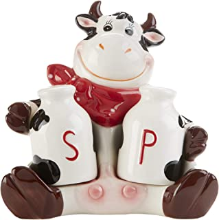 Moo Moo Madness Milk Jug Salt and Pepper Shakers with Cartoon Cow 9.5 x 4 Inch Ceramic Resting Figurine, 3 Pieces