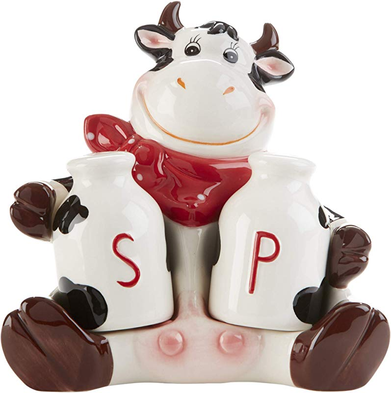 Moo Moo Madness Milk Jug Salt And Pepper Shakers With Cartoon Cow 9 5 X 4 Inch Ceramic Resting Figurine 3 Pieces