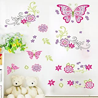 Amaonm Removable DIY Pink Red Cute Cartoon Flowers Flower Vines Butterfly Wall Decals Wall Stickers Murals Wallpaper Peel Stick for Kids Girls Bedroom Living Room Offices Background Decorations