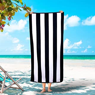 Silken Luxury Cabana Beach Towel 100% Turkish Cotton Soft Striped Towels (Black, 3)