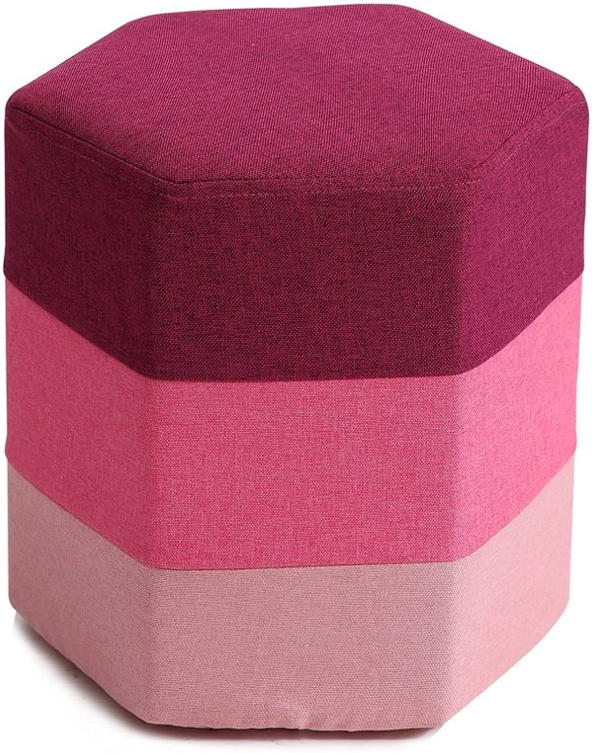 GWDJ Creative Hexagon-Shaped Footstool Cloth Sofa Stool Simple Changing His shoes Stool Sofa Stool (5 colors Available) Reinforced Footrest (color   C)