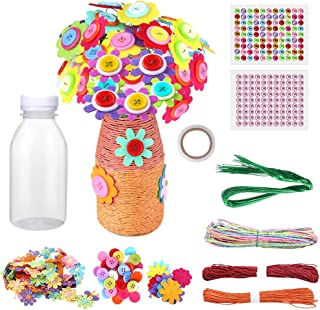 Hicdaw 18Pcs Flower Craft Kit for Kids Crafts and Art Set Vase and Colorful Button Flowers Art Toy Craft Project for Child...
