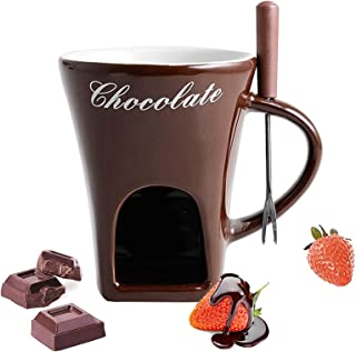 ELQ Chocolate Fondue Set with A Stainless Steel Forks, Microwave and Dishwasher Safe, for Cheese, Butter,Brown