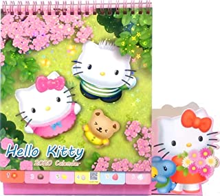 2020 Glitter Cover Hello Kitty Monthly Yearly Desk Calendar with Planner Sticker & Pen/Phone Holder-extendable