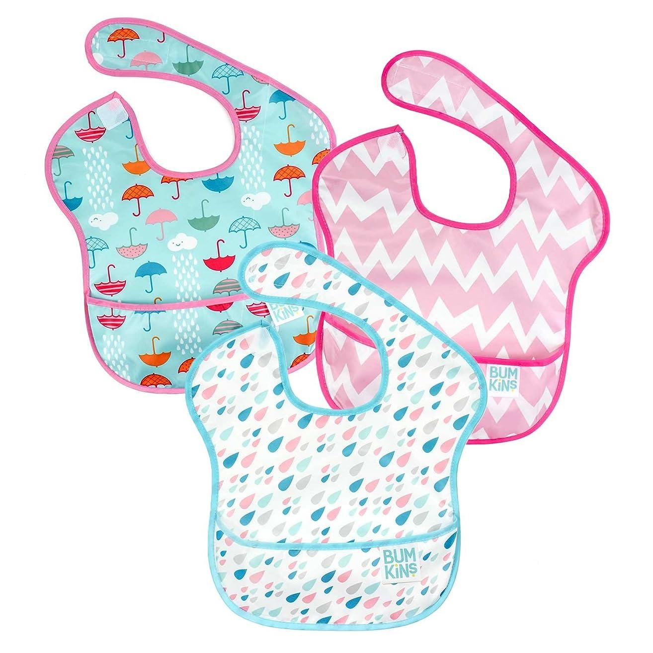 Bumkins SuperBib, Baby Bib, Waterproof, Washable, Stain and Odor Resistant, 6-24 Months, 3-Pack - Umbrellas, Raindrops, Pink Chevron