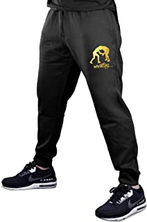 Men's Gold Foil Wrestling Emblem Black Fleece Gym Jogger Sweatpants