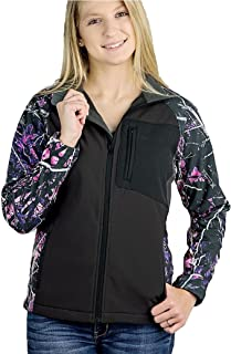Muddy Girl Moonshine JP Camo Ladies Womens Zipper Hardshell Jacket Coat Black