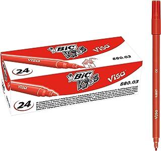 Bic - 24 Feutres de coloriage Visa Rouge - Pointe fine - Lavable