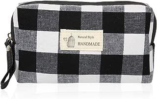 Portable Travel Clutch Cosmetic Makeup Pouch - Toiletry Organizer Purse, Striped Wristlet Floral, Plaid Print Bag (Rectangle Pouch - Plaid White/Black)
