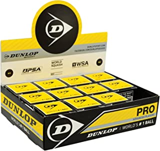 Dunlop Pro Squash Balls Double Yellow Dot - WSF & WSA & PSA Official Ball - 01 Pck 12 PCS