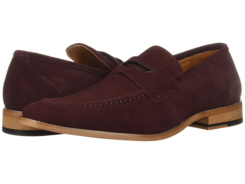 Stacy Adams Colfax Moc-Toe Slip-On Penny Loafer (Oxblood Suede) Men