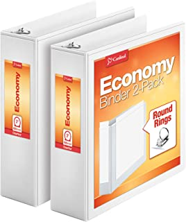 Cardinal Economy 3 Ring Binder, 3 Inch, Presentation View, White, Holds 625 Sheets, Nonstick, PVC Free, 2 Pack of Binders...