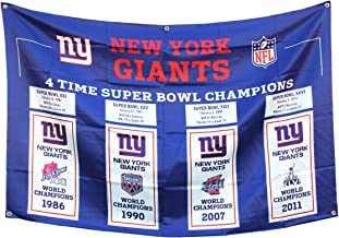 4 in 1 'New York 'Giants Mens 3x5 Flag Super Bowl 4 time Championship Super Bowls Champions Gifts for Youth Kids Womens Ba...