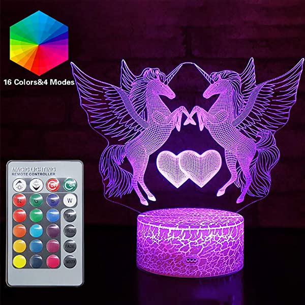 Hoofun Remote Control 16 Colors 4 Modes Unicorn Gifts Lamp LED Unicornio Night Lights Bedside Illusion Lamp Kids Desk Table Lamps Creative Gift For Party Birthday Christmas Unicorn 2