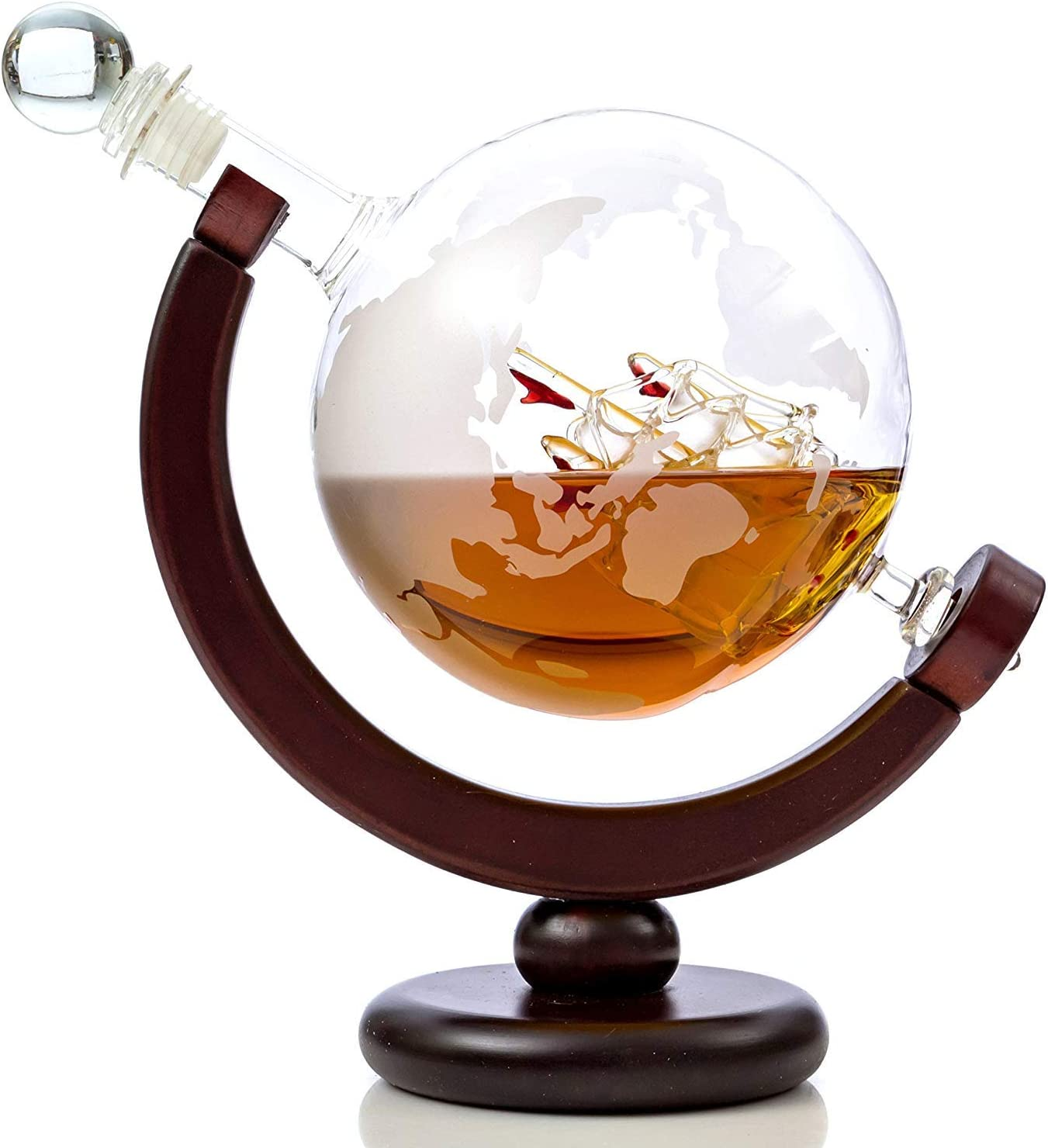 TUTC Whiskey Decanter Attention brand Globe Set with NEW Glass Whisky Etched 2