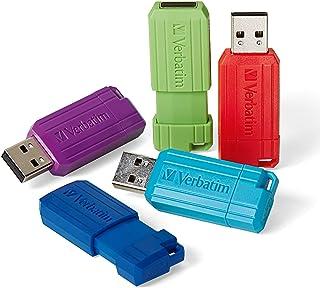 Verbatim 8GB Pinstripe Retractable USB 2.0 Flash Drive - 5 Pack - Multicolor (Green, Blue, Red, Purple, Cyan)