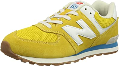 New Balance 574 Varsity Gold/Deep Sky Suede Junior Trainers Shoes