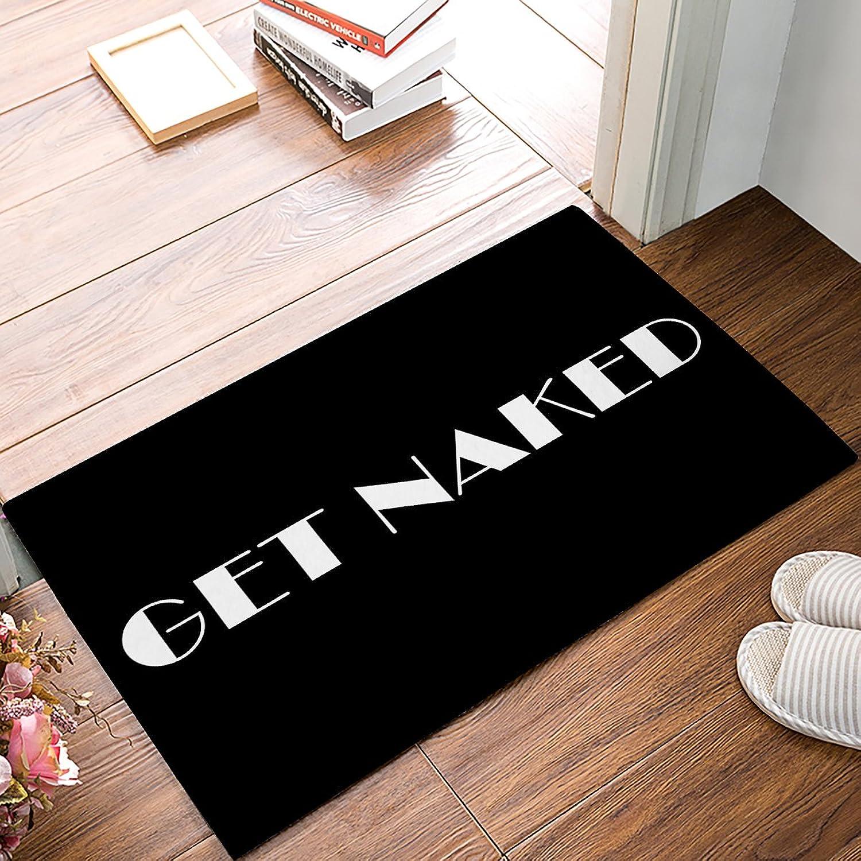 Findamy Non-Slip Indoor Door Mat Entrance Rug Rectangle Absorbent Moisture Floor Carpet for Funny Text, Get Naked Doormat 20x32 inch