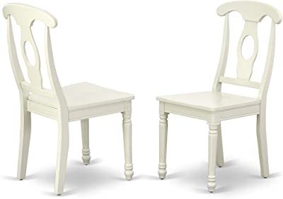 East West Furniture Kenley Nappoleon-Styled Dining Chair with Plain Wood Seat in Linen White Finish (Set of 2)