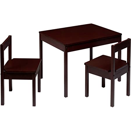 Amazon Basics Solid Wood Kiddie Table Set with Two Chairs, Espresso