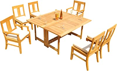Amazon Com Teakstation 6 Seater Grade A Teak Wood 7 Pc Dining Set 60 Square Butterfly Table And 6 Osborne Chairs 2 Arm 4 Armless Chairs 31os2807 Garden Outdoor