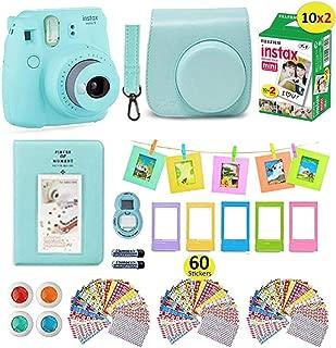 Fujifilm Instax Mini 9 Camera Bundle (Ice Blue) + Instant Camera Film 20 Sheets + Instax..