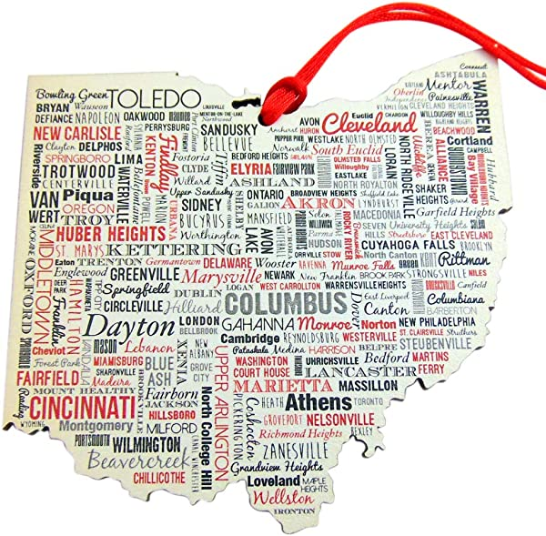 Ohio Ornament With City Names Wooden Christmas Tree Decoration Gift Boxed 5 Inch