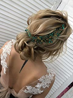 Deniferymakem, accesorio para el pelo de boda, color verde, azul, rojo y negro, para novia