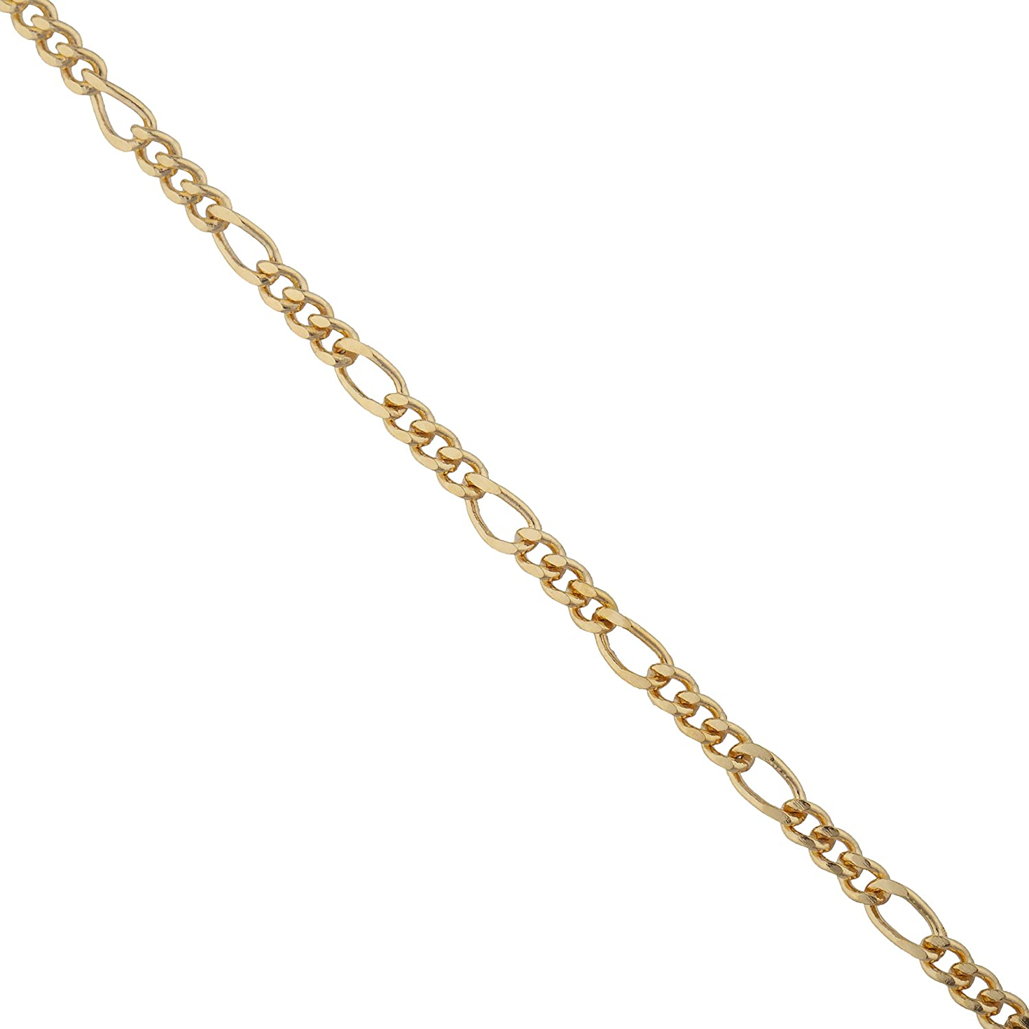 JOTW 14K Filigree Hamsa Hand Charm with 18 inch Gold Overlay Figaro Chain Necklace (RELG-58)
