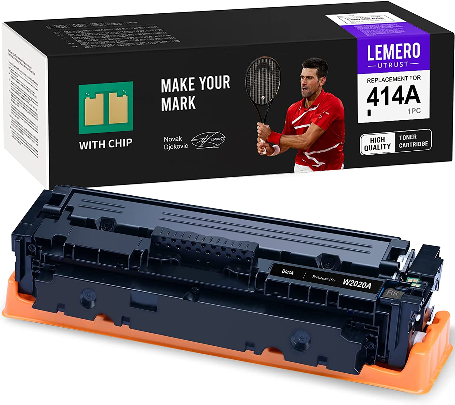 LEMEROUTRUST (with Chip) Remanufactured Toner Cartridge Replacement for HP 414A W2020A use with HP Color Laserjet Pro M454dw M454dn MFP M479fdw M479fdn (Black, 1-Pack)