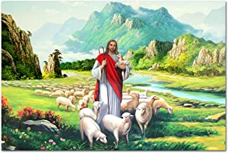 MISDECOR The Good Shepherd Jesus Christ Holy Lamb Canvas Prints and Posters Artwork Wall Art Home Decoration (15.75