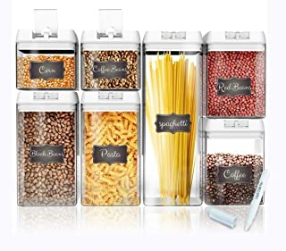 Shazo Airtight Container Set for Food Storage - 7 Piece Set + 14 Measuring Spoons + 18 Labels & Marker - Strong Heavy Duty Plastic - BPA Free - Airtight Storage Clear Plastic w/White Interchangeable