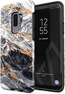 BURGA Phone Case Compatible with Samsung Galaxy S9 Plus Black and Gold Marble Stone Cute for Girls Heavy Duty Shockproof Dual Layer Hard Shell + Silicone Protective Cover