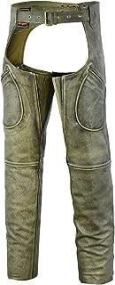 Mens Cowhide Premium Leather Elastic Fit Chaps (Medium)