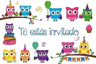 """Edition Colibri 10 Invitaciones en español """"BÚHOS"""": Juego de 10 Invitaciones para el cumpleaños Infantil / Fiesta (10645 ES)"""