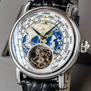 LIGUANGWEN - LIGUANGWEN Real st8000 Movimiento del Reloj de los Hombres mecánicos Lujo de la Marca Tierra Dial cocodrilo Cuero de los Hombres s Relojes Reloj Hombre (Color : Silver)