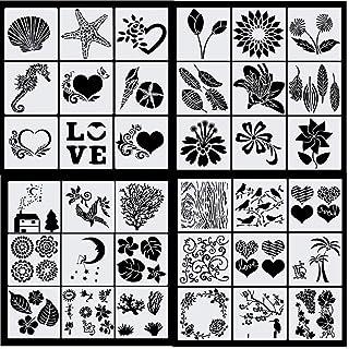 Haosell Lot de 36 pochoirs à dessin pour enfants - En plastique - Pour journal, journal, décoration, fleurs, feuilles, océ...