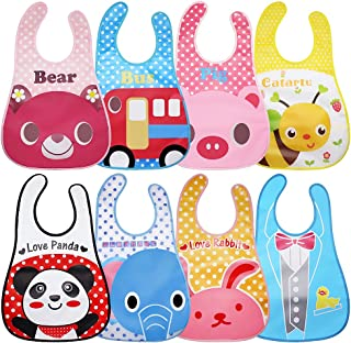 Homgaty 8-Pack Waterproof Baby Bibs, Unisex Infants Weaning Bib Apron Toddler Drool Bibs with Food Crumb Catcher Pocket for Feeding Drooling Or Teething