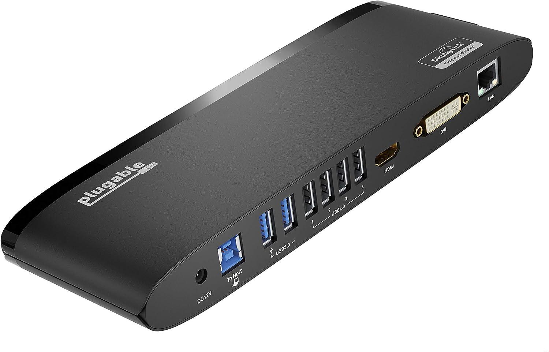 Plugable USB 3.0Universal Laptop Docking Station for Windows and Mac (Dual Monitor: HDMI and DVI/HDMI/VGA, Gigabit Ethernet, Audio, 6 USB Ports) - Horizontal