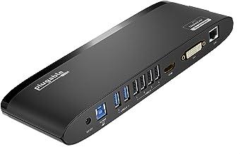 پلاگین USB 3.0 دوگانه مانیتور ایستگاه متصل کردن افقی برای ویندوز (دوگانه ویدئو HDMI و DVI / VGA، گیگابیت اترنت، صوتی، 6 پورت USB)