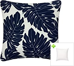 FBTS Prime Outdoor Decorative Pillows with Insert Navy Patio Accent Throw Pillows 18x18 Inches Square Patio Cushions for C...