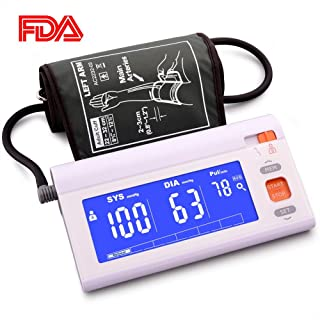Automatic Upper Arm Blood Pressure Monitor Machine Adjustable Large Cuff, LCD Screen Blue Backlit,