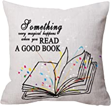 Nice Gift With Read A Good Book Words Beige Throw pillow case Cushion cover pillowcase for Sofa home decorative Square 18X 18