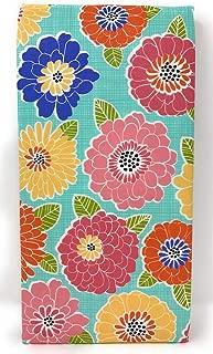 Ritz Summer Blooms Aqua Floral Blooms PEVA Vinyl Tablecloth (60 Round)